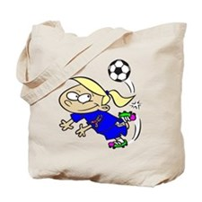 SOCCER GIRL TOON BLONDE BLUE AUTISM RIBBON Tote Ba