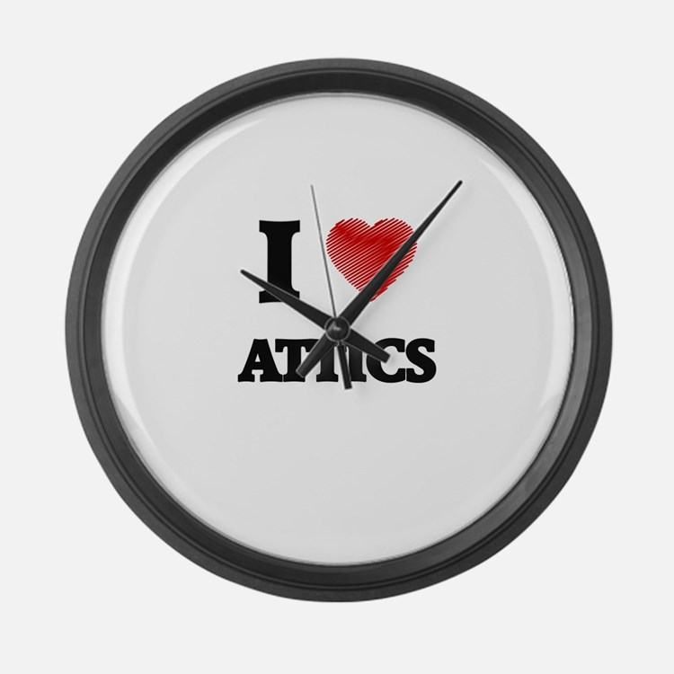 I Love ATTICS Large Wall Clock