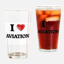 I Love AVIATION Drinking Glass