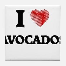 I Love AVOCADOS Tile Coaster