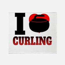 I Heart Curling Throw Blanket