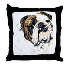 Bulldog Dog Portrait Throw Pillow
