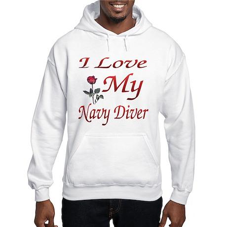 i love my navy diver Hooded Sweatshirt