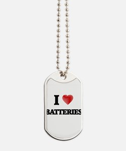I Love BATTERIES Dog Tags