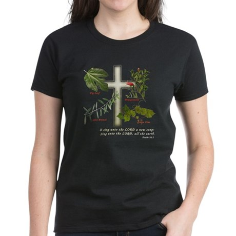 Cross with olive branch, fig Women's Dark T-Shirt