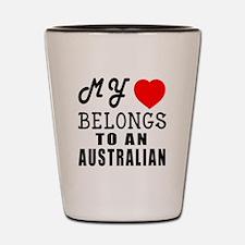 I Love Australian Shot Glass