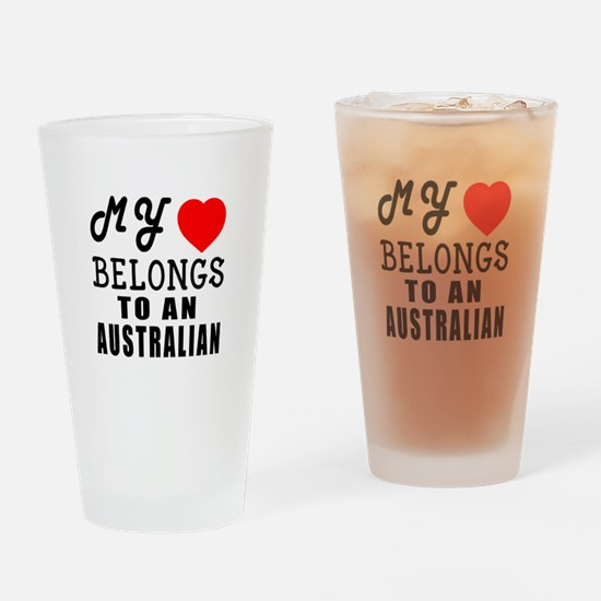 I Love Australian Drinking Glass