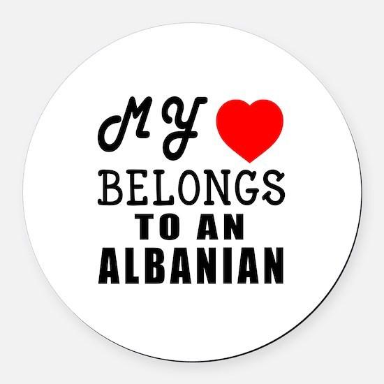 I Love Albanian Round Car Magnet