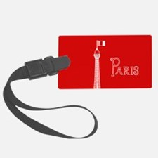 EIFFEL TOWER RED WHITE 1 Luggage Tag