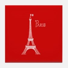EIFFEL TOWER RED WHITE 1 Tile Coaster