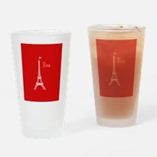 EIFFEL TOWER RED WHITE 1 Drinking Glass