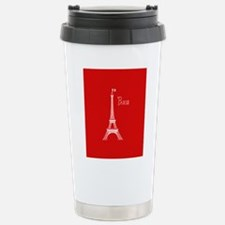 EIFFEL TOWER RED WHITE Stainless Steel Travel Mug