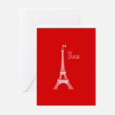 EIFFEL TOWER RED WHITE 1 Greeting Cards