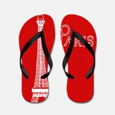 EIFFEL TOWER RED WHITE 1 Flip Flops