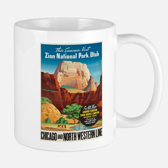 Vintage poster - Zion National Park Mugs