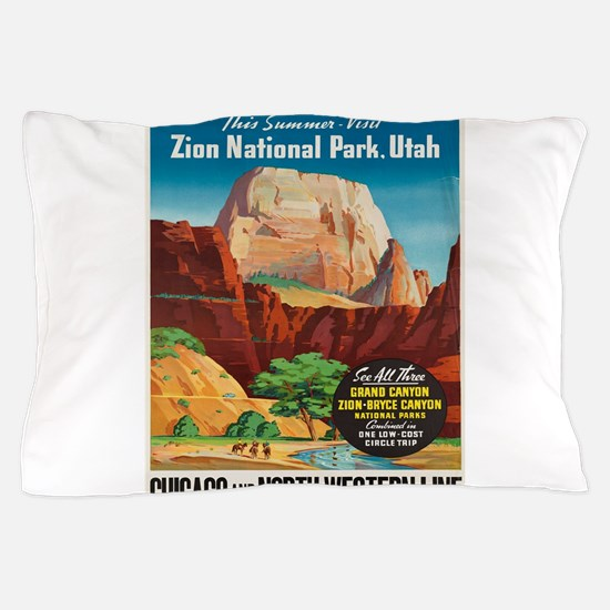 Vintage poster - Zion National Park Pillow Case