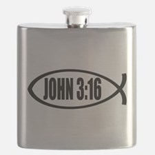 Christian Fish John 3:16 Flask
