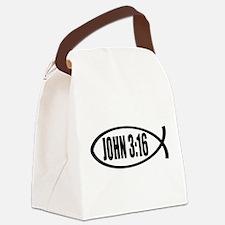 Christian Fish John 3:16 Canvas Lunch Bag