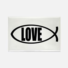 Christian Fish Love Rectangle Magnet