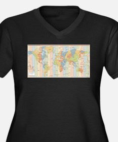 World Time Zone Map Plus Size T-Shirt
