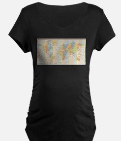 World Time Zone Map Maternity T-Shirt