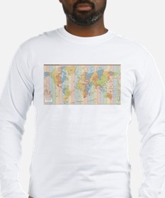 World Time Zone Map Long Sleeve T-Shirt