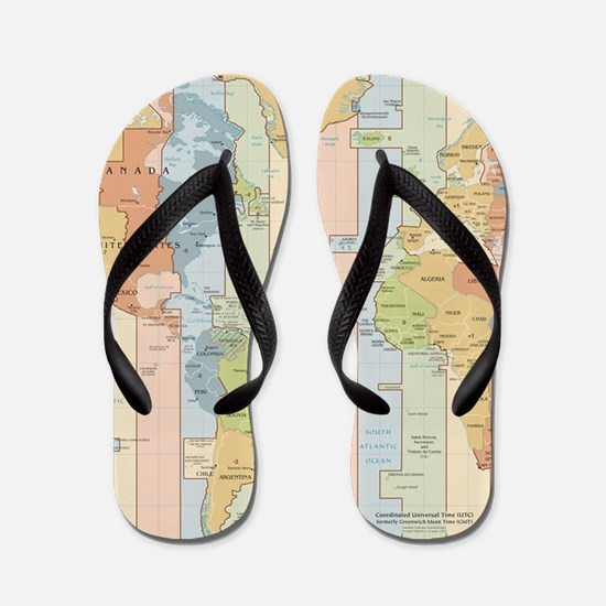 World Time Zone Map Flip Flops