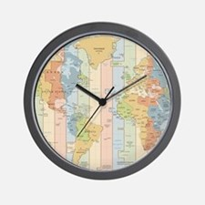 World Time Zone Map Wall Clock