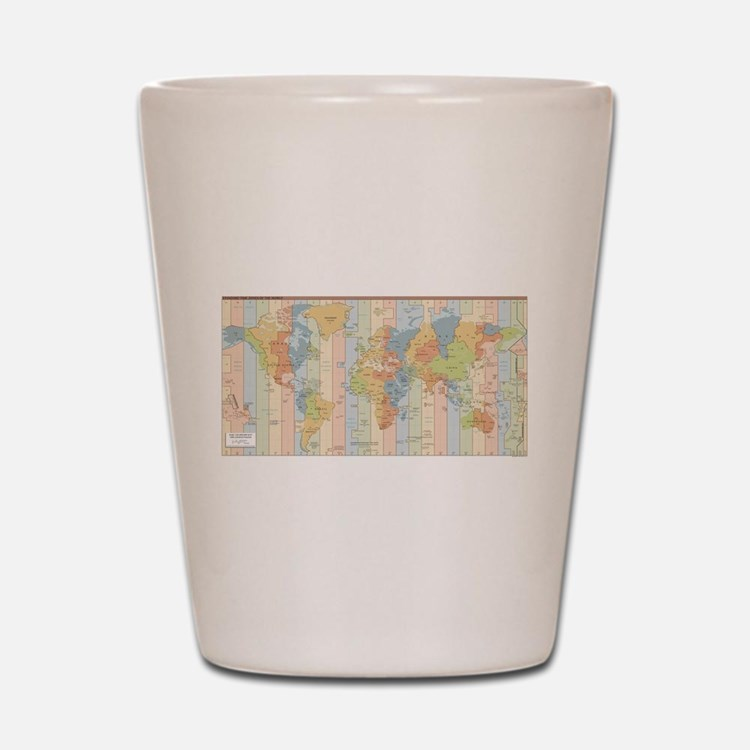 World Time Zone Map Shot Glass