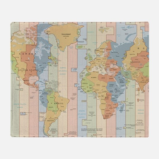 World Time Zone Map Throw Blanket