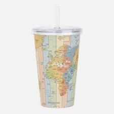 World Time Zone Map Acrylic Double-wall Tumbler