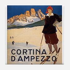 Vintage poster - Cortina d'Amprezzo Tile Coaster