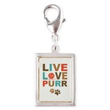 Live Love Purr Silver Portrait Charm