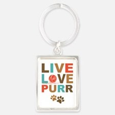 Live Love Purr Portrait Keychain