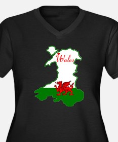 Cool Wales Women's Plus Size V-Neck Dark T-Shirt