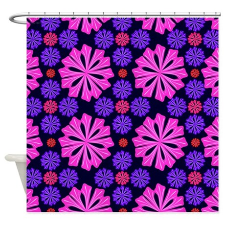 pink and purple flowers shower curtain by wowtimesz