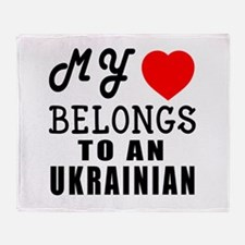 I Love Ukrainian Throw Blanket