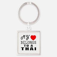 I Love Thai Square Keychain