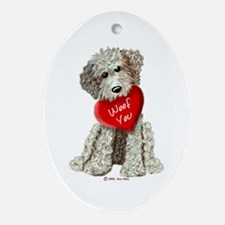WOOF YOU Doodle Love Oval Ornament