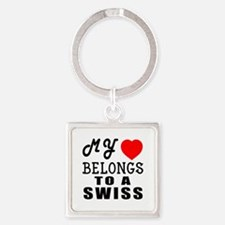 I Love Swiss Square Keychain
