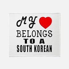 I Love South korean Throw Blanket