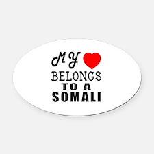 I Love Somali Oval Car Magnet