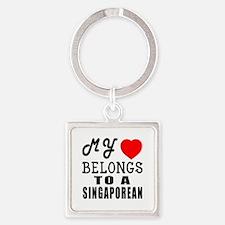 I Love Singaporean Square Keychain