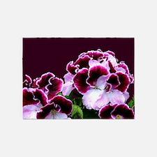 Pink Purple Geraniums 5'x7'Area Rug