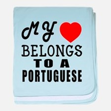I Love Portuguese baby blanket