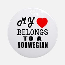 I Love Norwegian Round Ornament