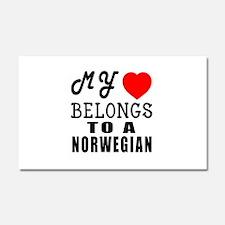 I Love Norwegian Car Magnet 20 x 12