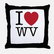 I Love WV West Virginia Throw Pillow
