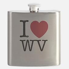 I Love WV West Virginia Flask