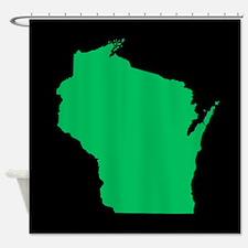 wisconsin green black Shower Curtain